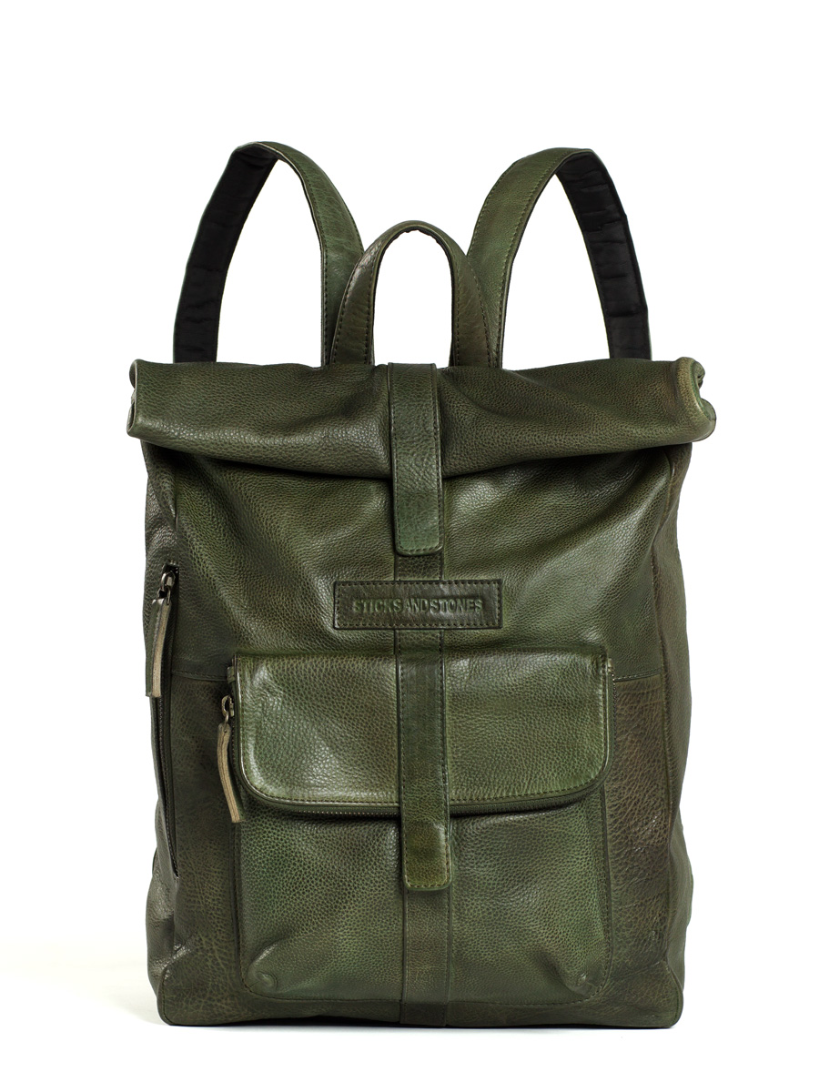 Messenger Backpack - Vegetable Tanned - Dark Olive