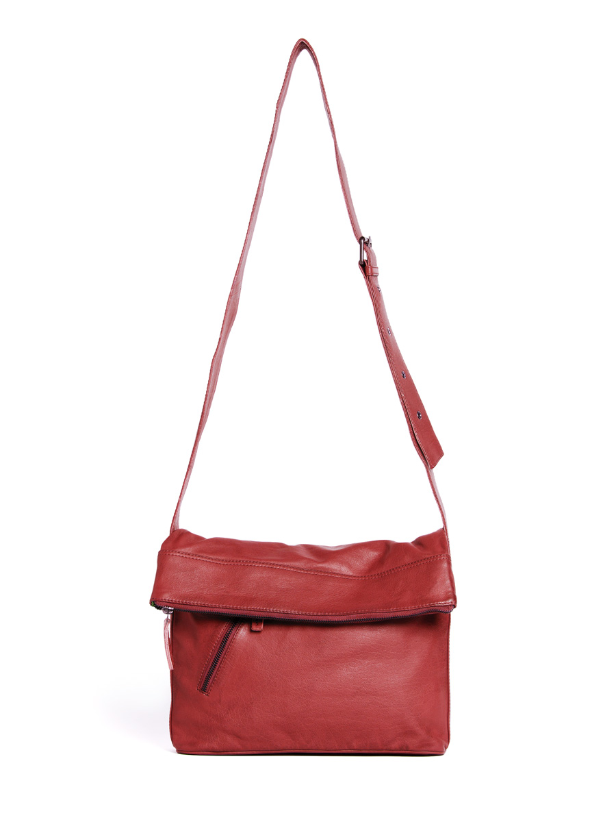 City Bag - Buff Washed - Cherry Red